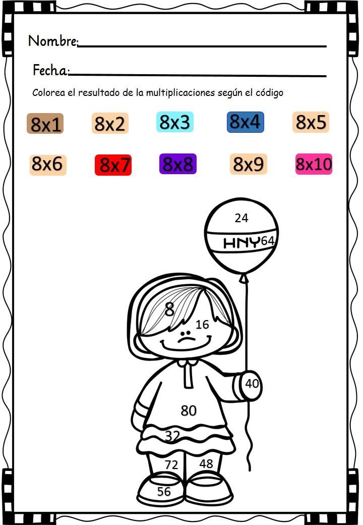 Cuaderno Para Multiplicar Y Colorear Aprendemos Las Tablas