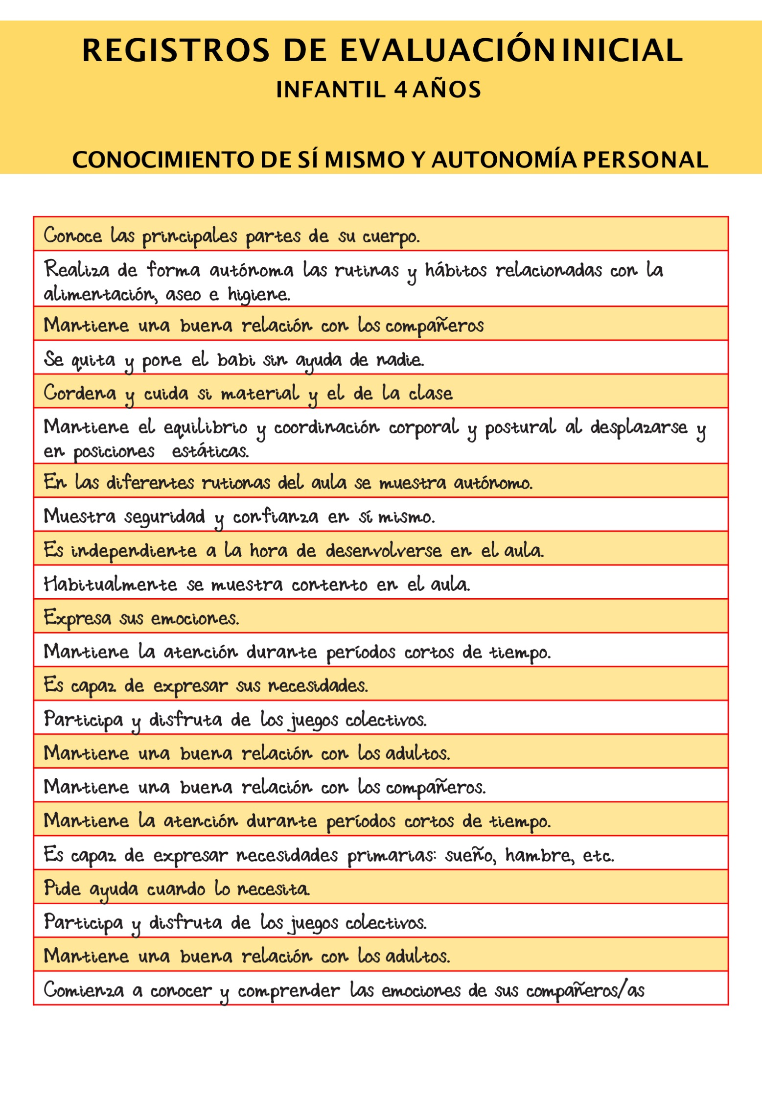 EVALUACION INICIAL 4 AÑOS REGISTRO1 - Orientación Andújar - Recursos  Educativos